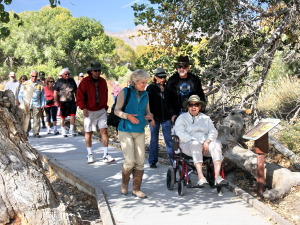 Robin leads Eco-Discovery Tour along Marsh Trail boardwalk in Big Morongo Canyon Preserve